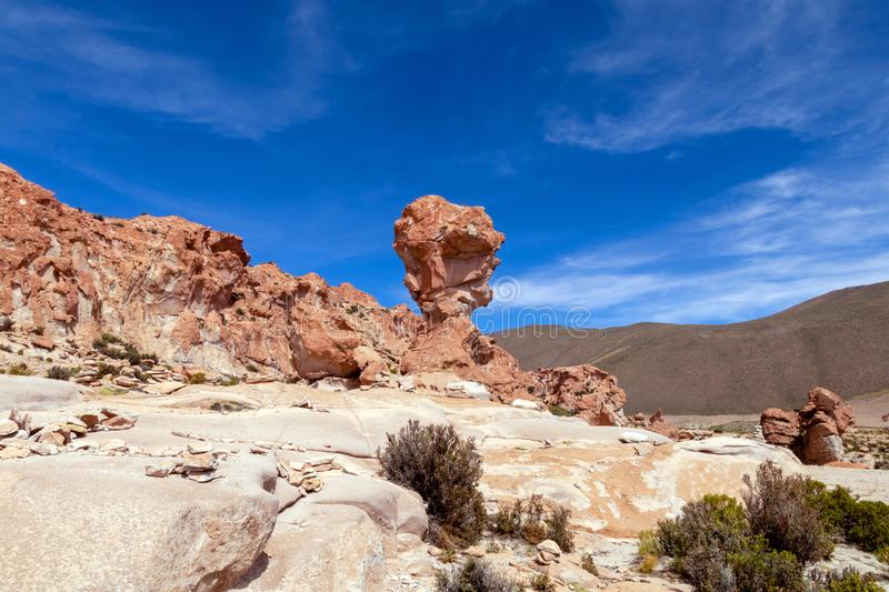 Rock formation called Copa del Mondo or World Cup in the Bolivean altiplano - Potosi Department, Bolivia. Giant Rock Tree geological formation named Copa del royalty free stock image