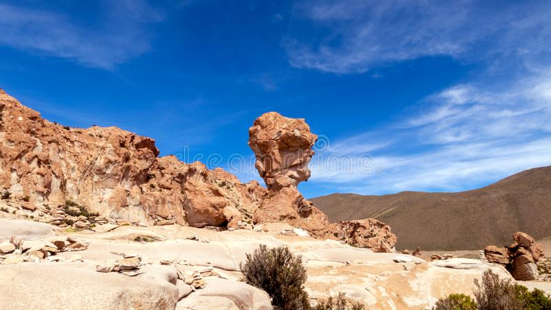 Rock formation called Copa del Mondo or World Cup in the Bolivean altiplano - Potosi Department, Bolivia. Giant Rock Tree geological formation named Copa del royalty free stock images