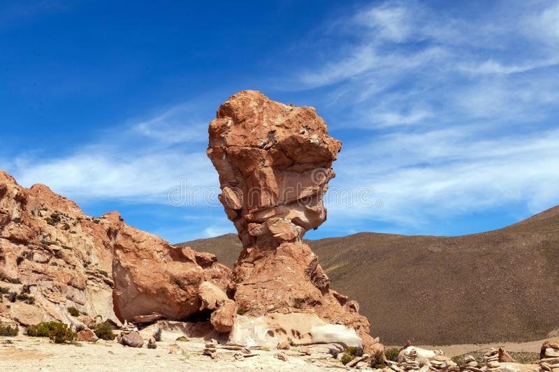 Rock formation called Copa del Mondo or World Cup in the Bolivean altiplano - Potosi Department, Bolivia. Giant Rock Tree geological formation named Copa del royalty free stock photo