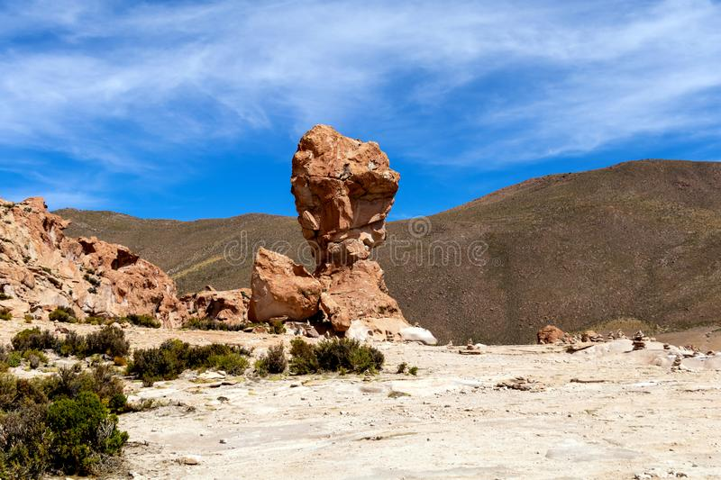 Rock formation called Copa del Mondo or World Cup in the Bolivean altiplano - Potosi Department, Bolivia. Giant Rock Tree geological formation named Copa del stock photo