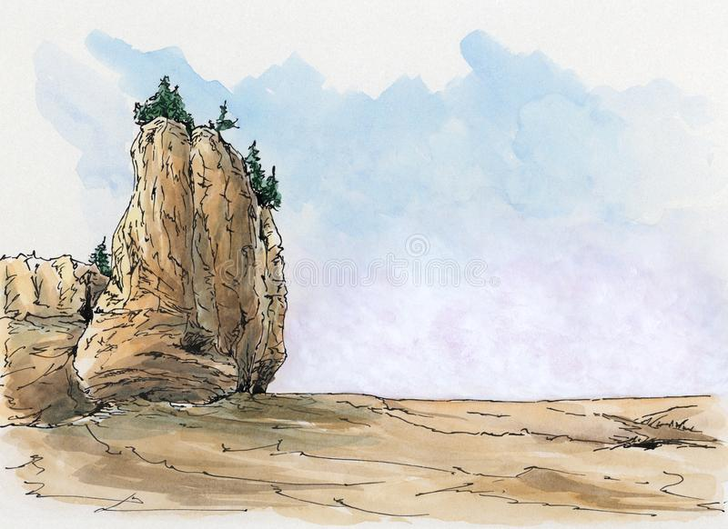 Rock formation at the Canadian Bay of Fundy. Loose sketch. Ink and watercolor on cardboard stock illustration