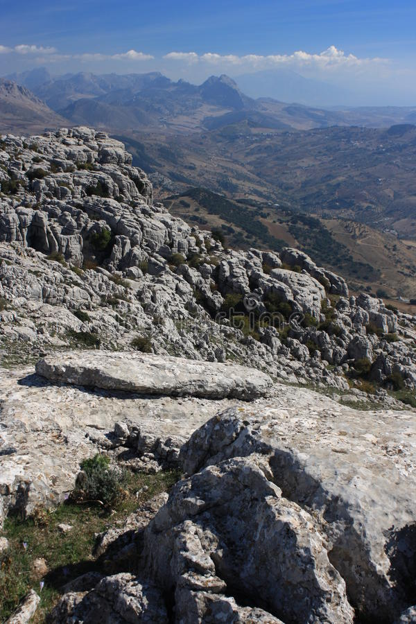 Rock formation at El Torcal de Antequera stock photography