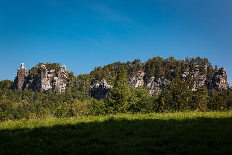 Rock formation in the Elbe Sandstone Mountains in Saxon Switzerland. Germany royalty free stock photo