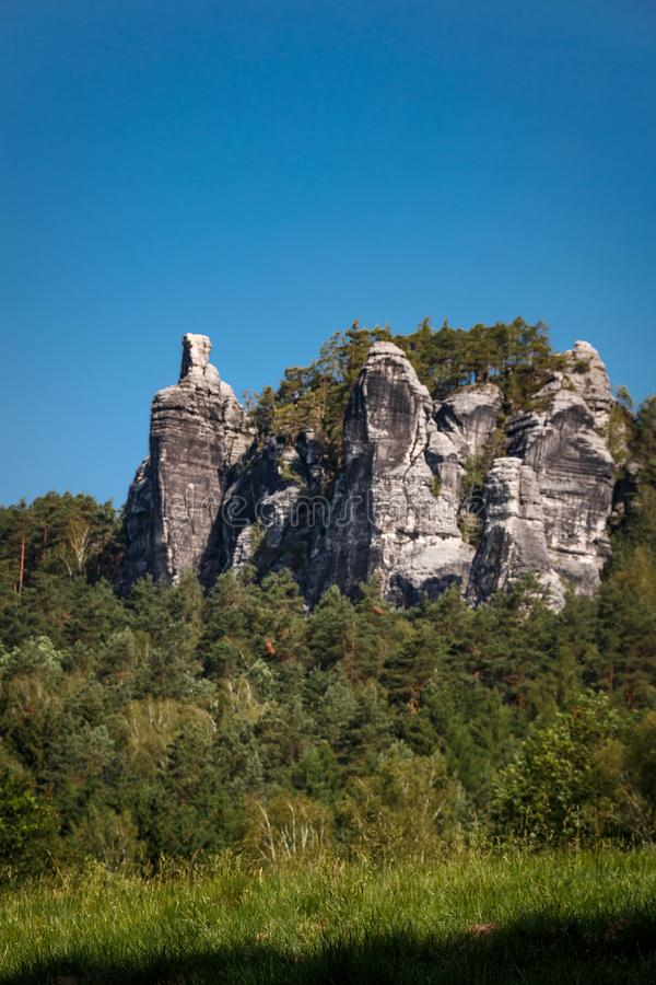 Rock formation in the Elbe Sandstone Mountains in Saxon Switzerland. Germany stock image