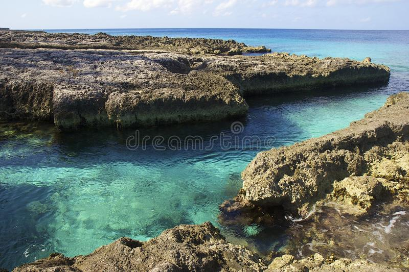 Rock formation in Grand Cayman, Caribbean royalty free stock images