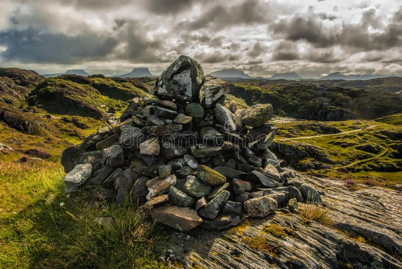 Rock formation on hills stock photo