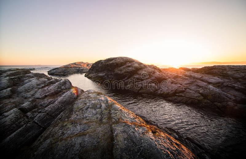 Rock Formation Near Body of Water stock image