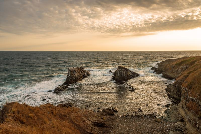 Rock formation near Sinemoretz, Bulgaria. Sea rocks, Rock formation The ships near Sinemorets, Bulgaria stock image