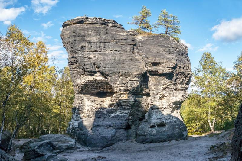 Rock formation in Sandstone Mountains The Tisa Rocks, Tisa Walls, Czech republic. Rock formation in Sandstone Mountains The Tisa Rocks, Tisa Walls Tiske steny royalty free stock photography