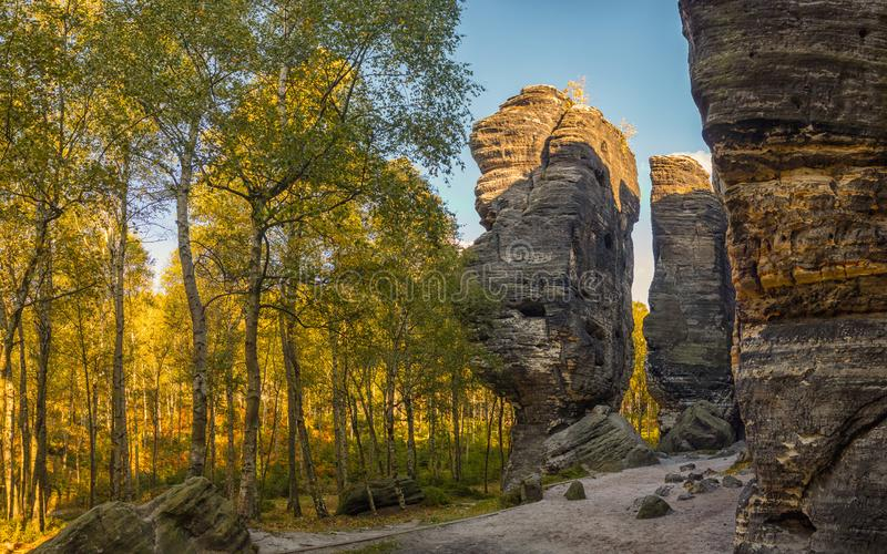 Rock formation in Sandstone Mountains The Tisa Rocks, Tisa Walls, Czech republic. Rock formation in Sandstone Mountains The Tisa Rocks, Tisa Walls Tiske steny royalty free stock image