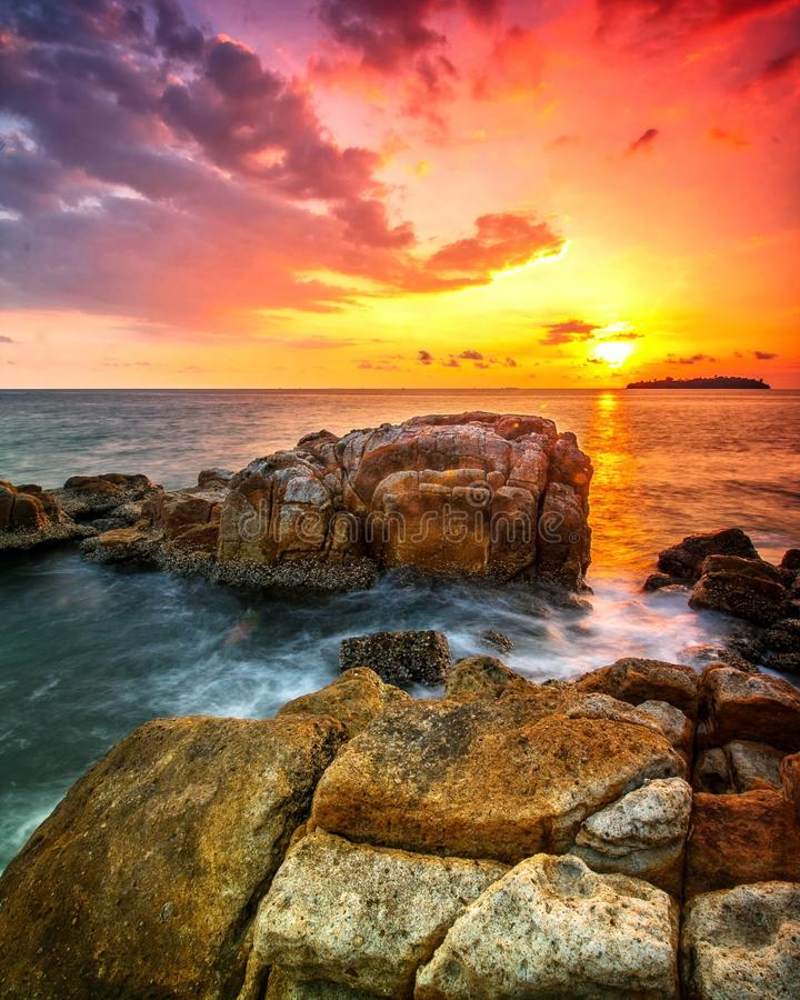 ROCK FORMATION. Sunset and Rock stock photo