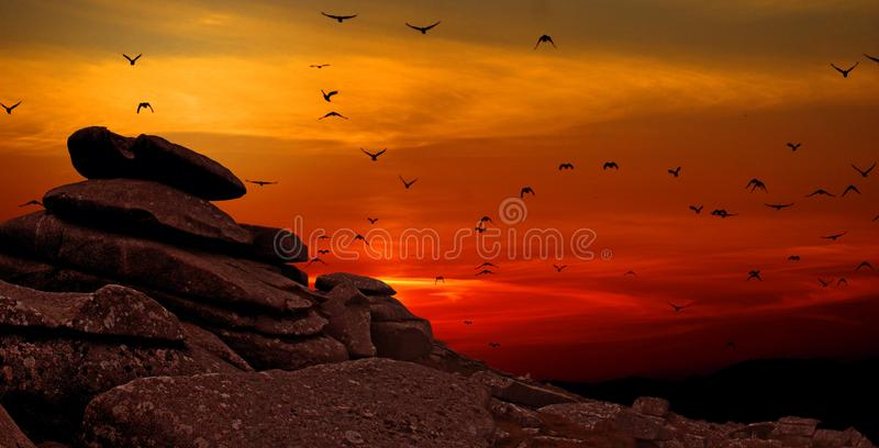 Rock Formation With Sunset Photo stock photography