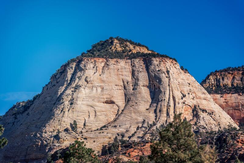 A white sandstone rock formation at Zion. A rock formation at Zion National Park in Springdale, Utah, USA during day time royalty free stock photo