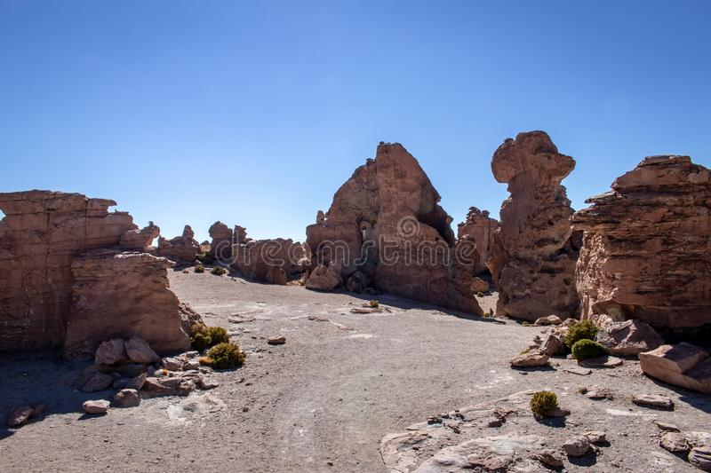 Rock formations in the Altiplano, Bolivia. A huge volcanic desert landscape in the Andes mountains stock image