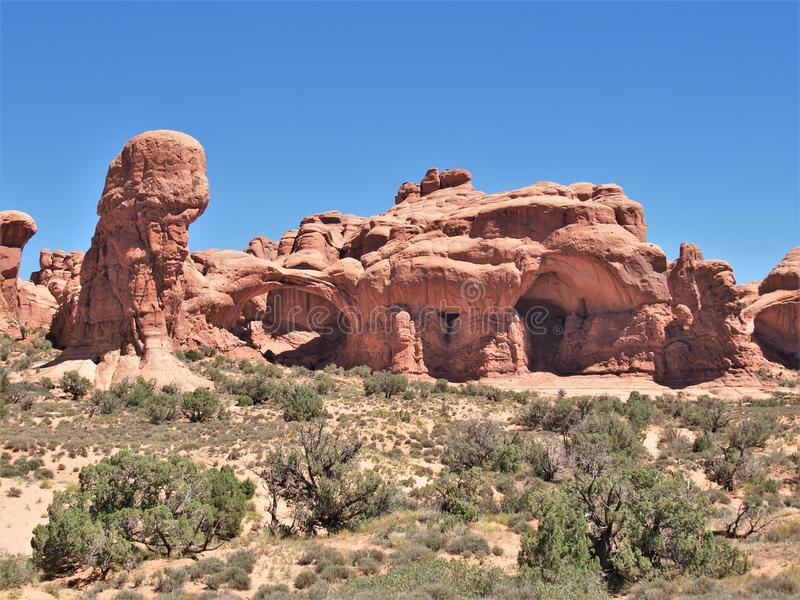 Rock Formations at Arches National Park in Utah. Arches National Park near Moab, Utah is red rock country. It has over 2000 natural stone arches and numerous stock photography