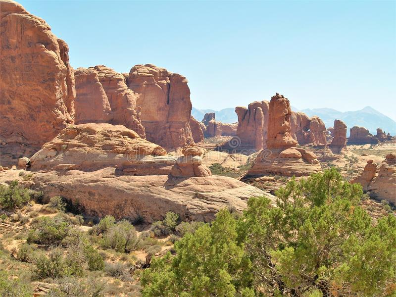 Rock Formations at Arches National Park in Utah. Arches National Park near Moab, Utah is red rock country. It has over 2000 natural stone arches and numerous royalty free stock photos