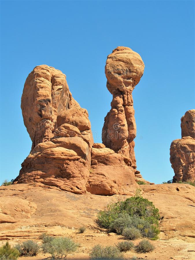 Rock Formations at Arches National Park in Utah. Arches National Park near Moab, Utah is red rock country. It has over 2000 natural stone arches and numerous royalty free stock images