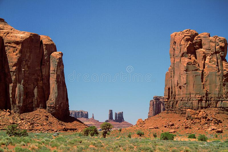 Rock formations in desert landscape royalty free stock photography