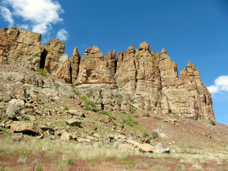 Rock formations in the Eastern Oregon desert. stock image