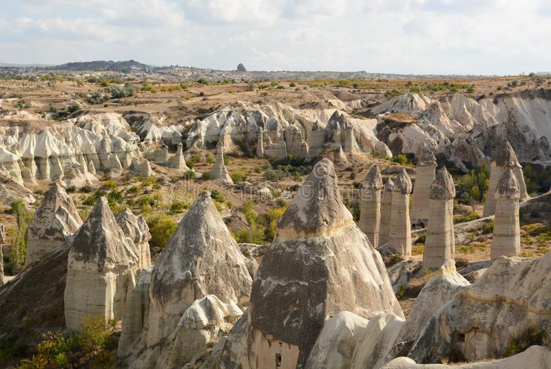 The rock formations of Love valley. Goreme. Cappadocia. Turkey royalty free stock photos
