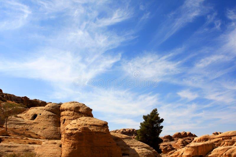 Petra in Jordan. Rock formations in the nabatean city of Petra in Jordan stock images
