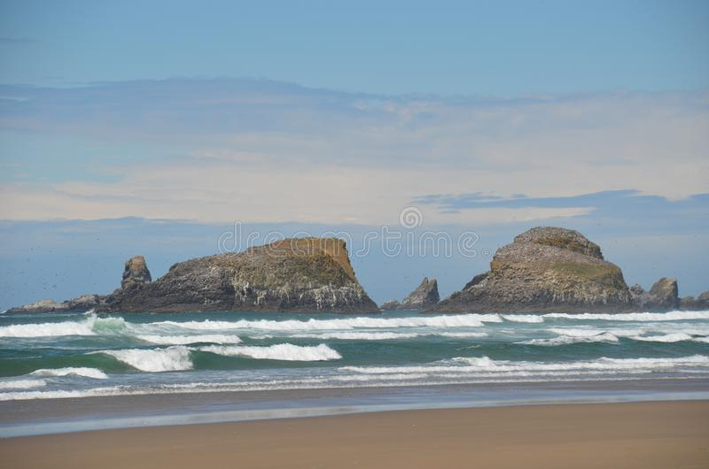 Rock Formations off Cannon Beach, Oregon royalty free stock photography