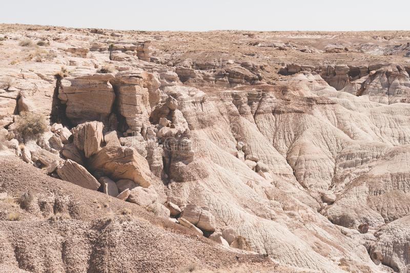 Rock formations in the Petrified Forest National Park in Arizona royalty free stock images