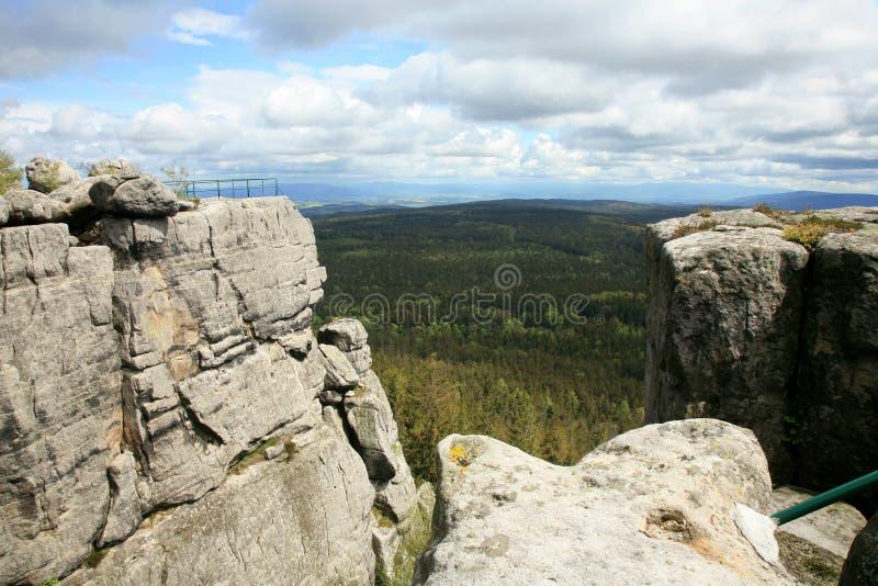 Rock formations in Szczeliniec Wielki in the Stolowe Mountains, the Sudeten range in Poland. stock photo