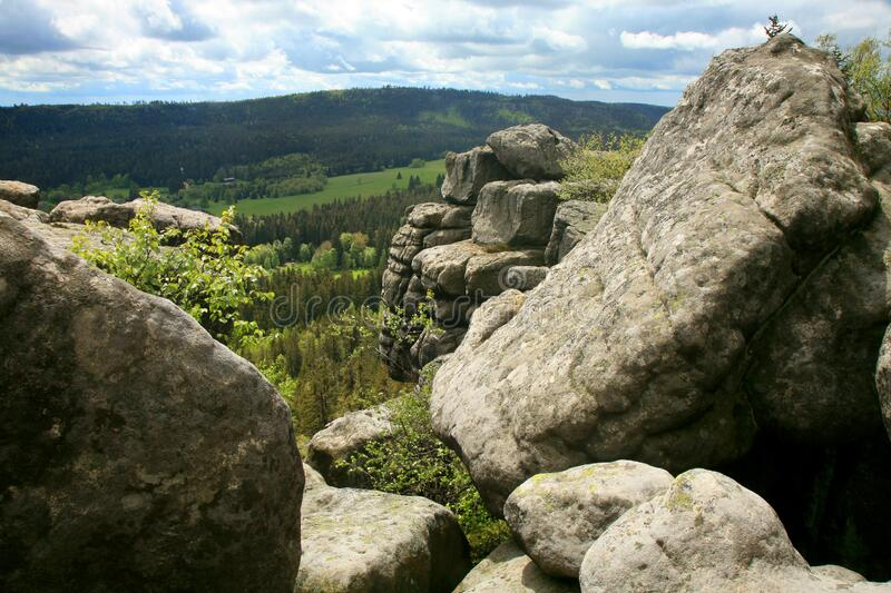 Rock formations in Szczeliniec Wielki in the Stolowe Mountains, the Sudeten range in Poland. royalty free stock photos
