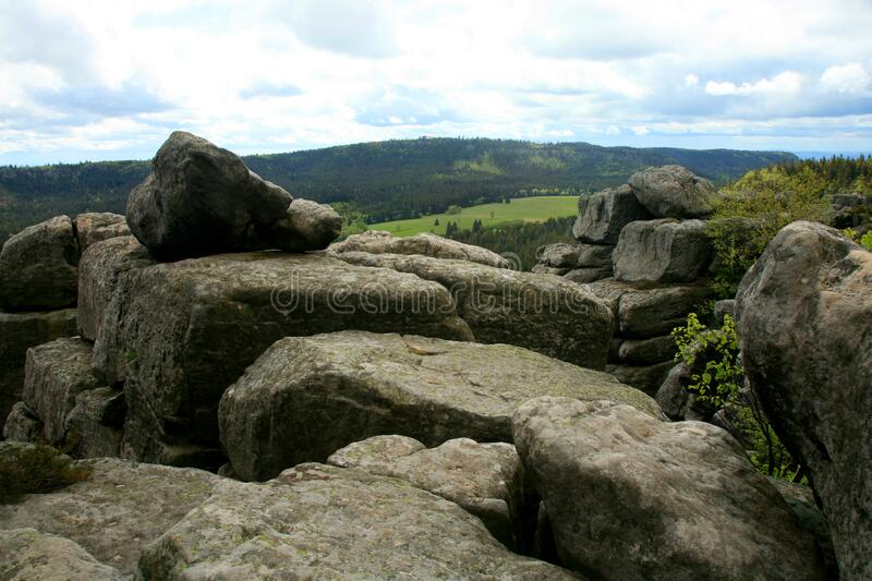 Rock formations in Szczeliniec Wielki in the Stolowe Mountains, the Sudeten range in Poland. royalty free stock images