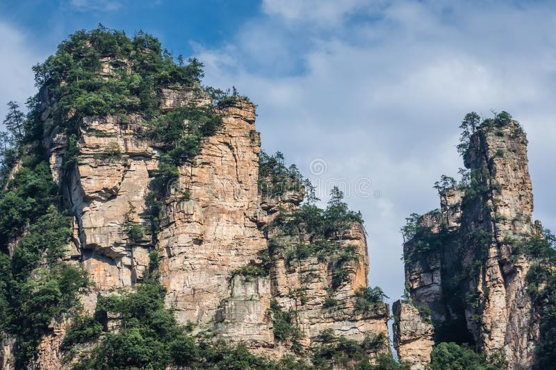 Rock formations of Tianzi mountains in Zhangjiajie. National park which is a famous tourist attraction, Wulingyuan, Hunan Province, China stock image
