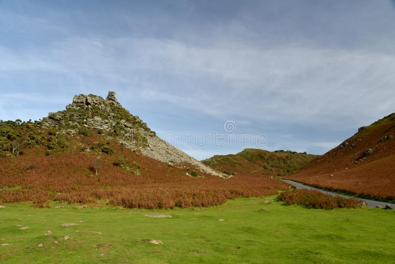 Valley of Rocks near Lynton, Exmoor, North Devon. Rock formations in Valley of Rocks above Bristol Channel near Lynton, Exmoor, North Devon royalty free stock images