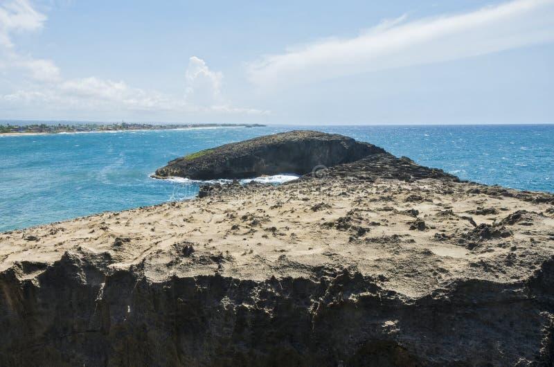 Rock Forms and Islet at Cueva Del Indio. Rock formations and islets at cueva del indio outside arecibo on atlantic coast of puerto rico royalty free stock photos