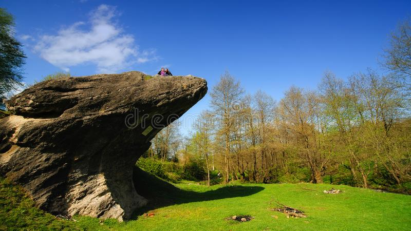 Rock of frog, near Cisnadioara, Sibiu county, Romania. Geologic relicve royalty free stock images