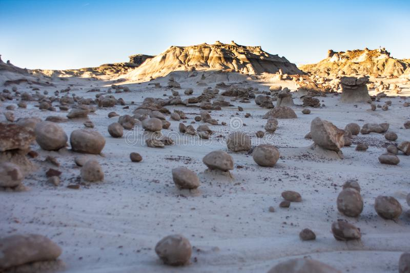 The Alien Egg Hatchery at Bisti Badlands Wilderness Area New Mexico. The Rock Garden  the Bisti Badlands Wilderness Area in northern New Mexico. The Rock Garden royalty free stock images