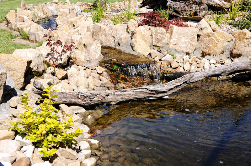 Rock garden with a pond in the park staging stock image for Garden pond unlimited