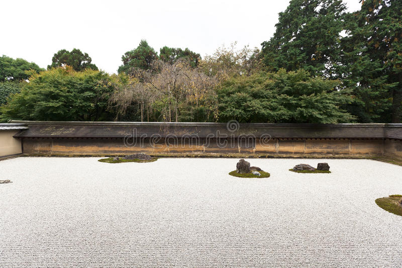 Rock Garden in Ryoanji Temple. royalty free stock photography