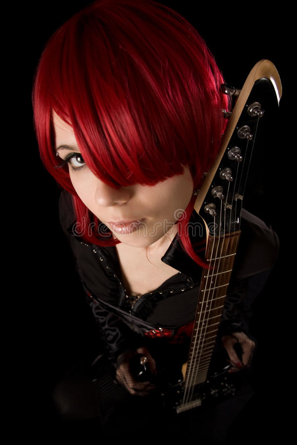 Rock girl with guitar, high angle view