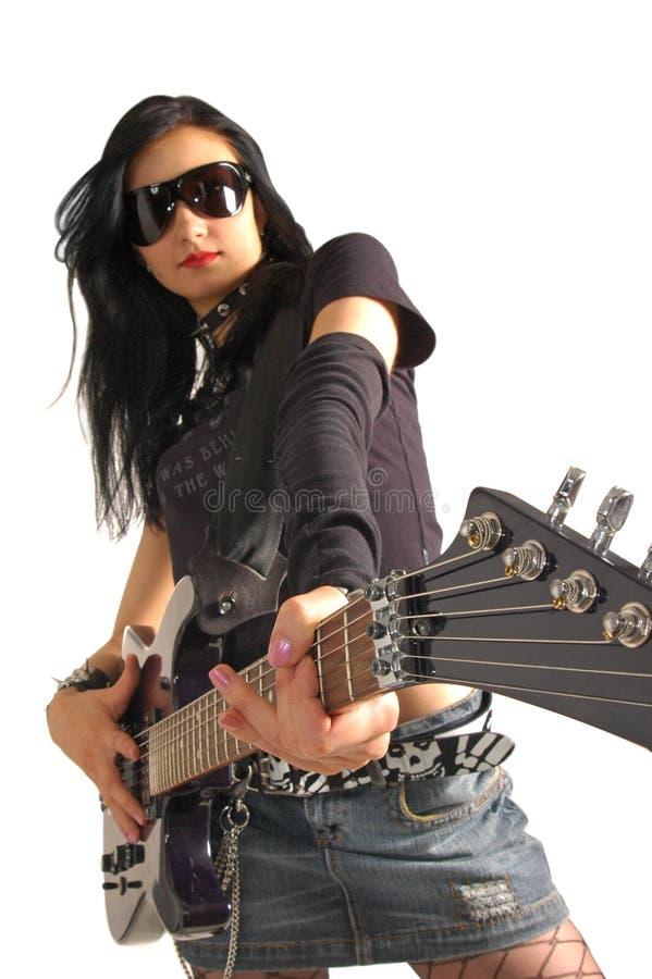 Rock girl holding guitar stock photo