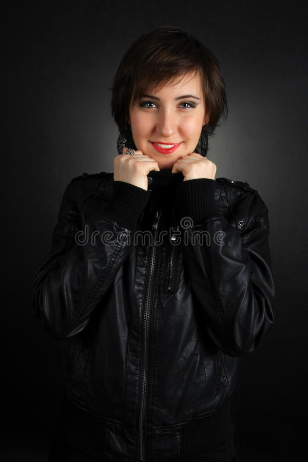 Download Rock Girl In Leather Outfit Stock Photo - Image: 14477278