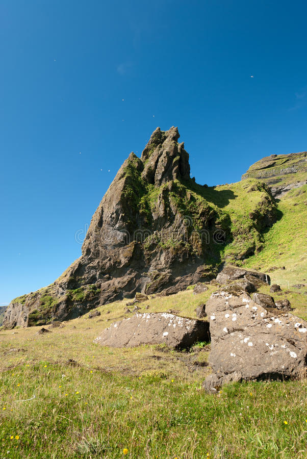 Download Rock with grass in Iceland stock image. Image of mountain - 23509535