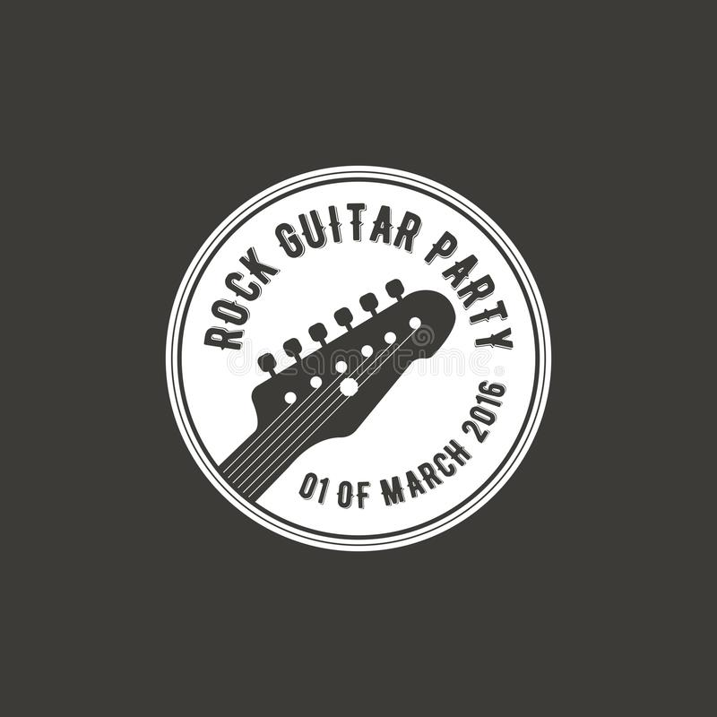 Rock guitar party vector label, badge, emblem logo with musical instrument. Stock vector illustration isolated on dark stock illustration