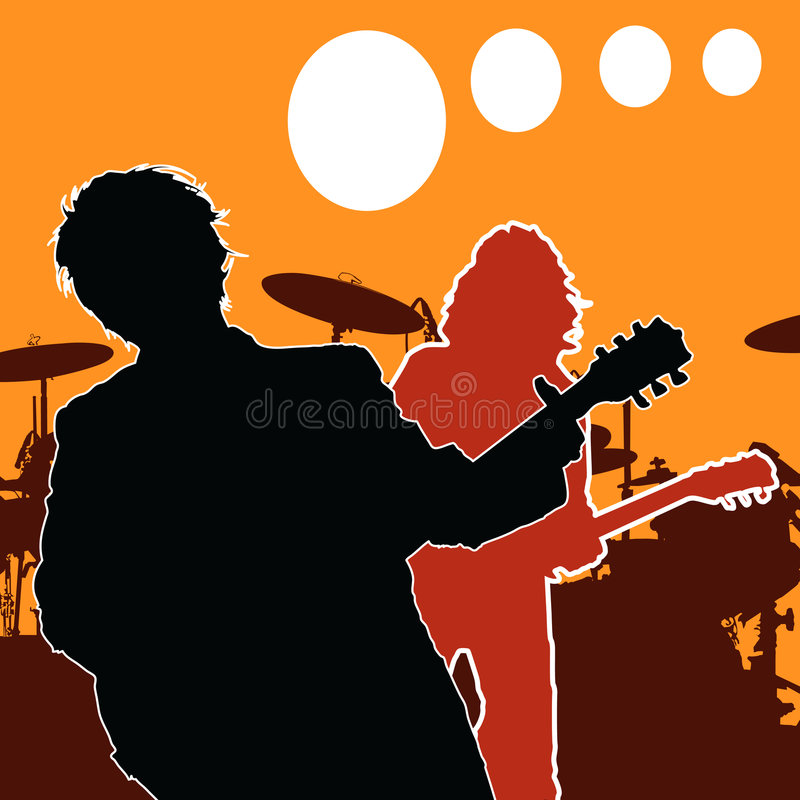 Rock guitar players. Vector illustration of rock guitar players vector illustration