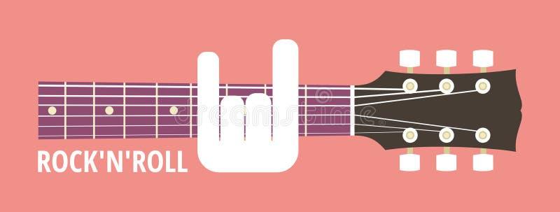 Rock guitar. Rocknroll, rock guitar neck, obscene gesture guitarist, vector illustration, flat style vector illustration