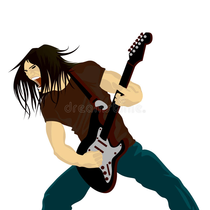 Rock guitarist. Playing on electric guitar stock illustration