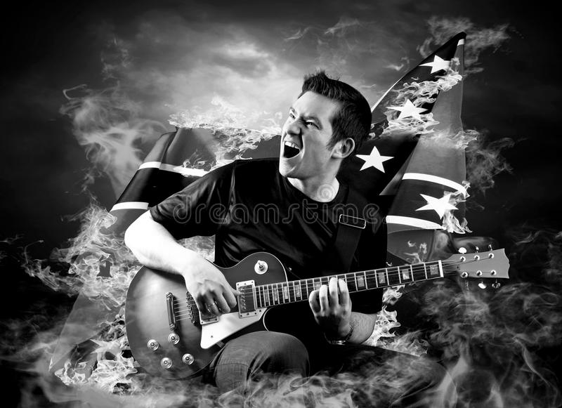 Download Rock guitarist stock image. Image of down, artist, flash - 18741657