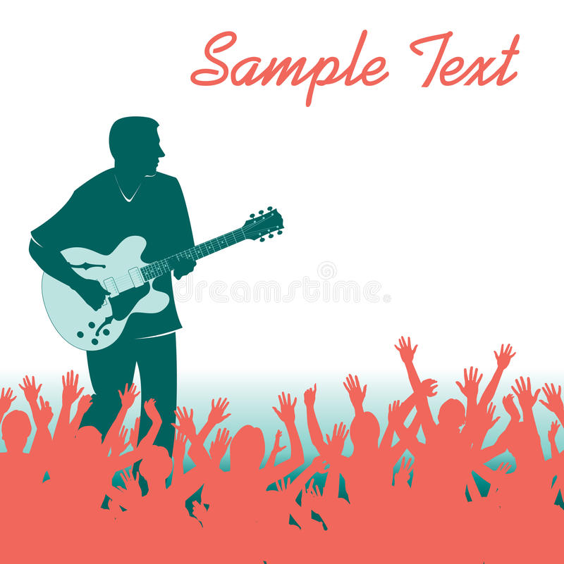 Rock Guitarist And Crowd Royalty Free Stock Photo