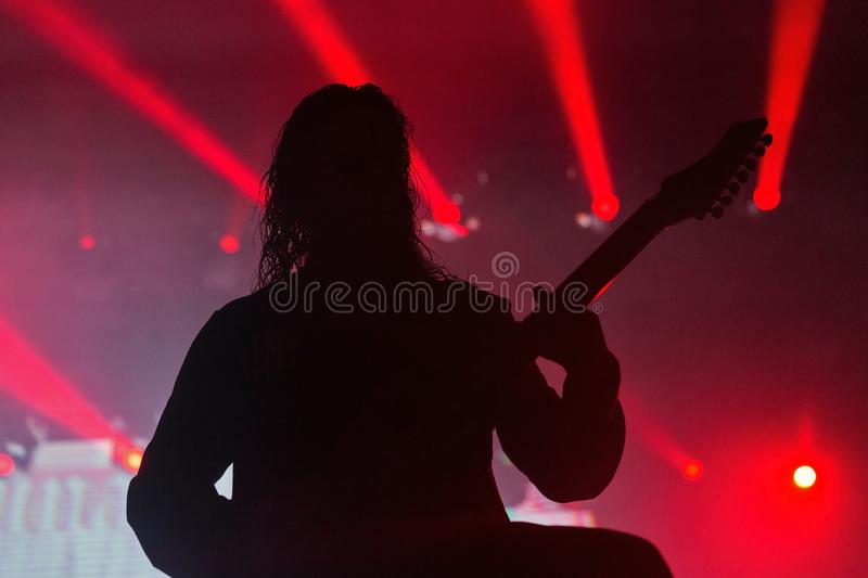 Rock guitarist live performance stock images