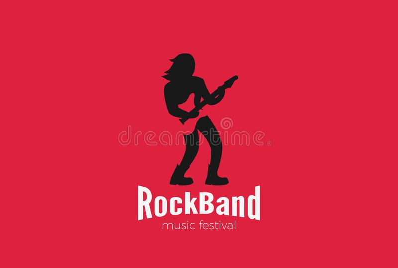Rock Guitarist playing Guitar Logo design vector. Rock Guitarist playing Guitar Logo design vector template Negative space style. Rock-band music Festival royalty free illustration