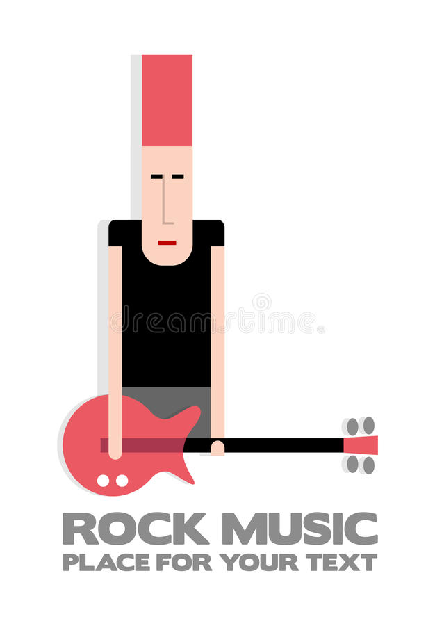 Rock guitarist. With red guitar and red hair, punk, vector cartoon illustration royalty free illustration